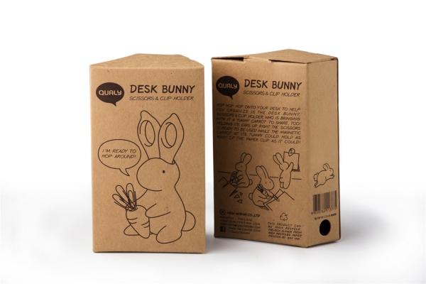 Schere Desk Bunny schwarz Qualy Büroklammernhalter inkl